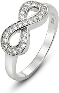 Metal Factory 925 Sterling Silver Cubic Zirconia Infinity Symbol CZ Wedding Band Ring