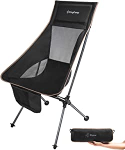KingCamp Ultralight Compact High Back Folding Chair with Headrest and Carry Bag, Only 3.2 lbs
