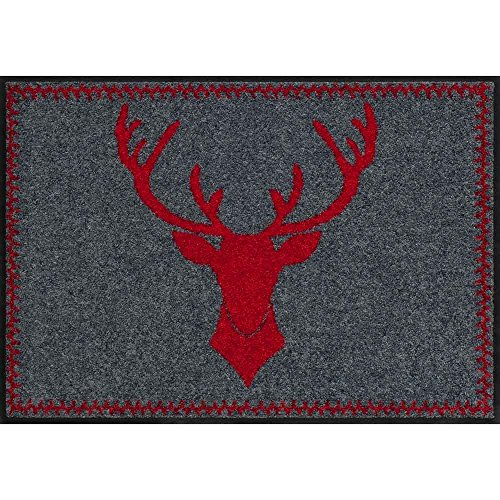 Salonloewe Fußmatte Hirschkopf rot Weihnachten oder als Einweihungsgeschenk für jede Haustür Fussmatte aussen + innen 50x75cm rot