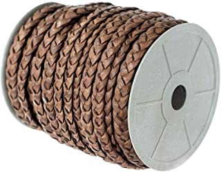 Craft County Flat Braided Leather Jewelry Craft Cord – Necklaces, Belts, Bracelets, Crafts and Jewelry Making (Red Brown, 10mm X 5 Yards)