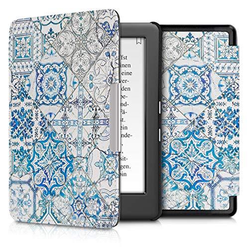 kwmobile Custodia compatibile con Kobo Glo HD/Touch 2.0 - Cover in simil pelle magnetica Flip Case per eReader blu/grigio/bianco