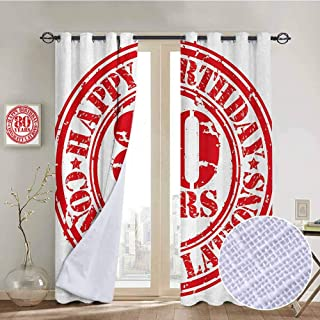 80th Birthday 100% blackout lining curtain Happy Birthday Print Retro Grunge Stamp Icon for 80 Years Old Image Print Full shading treatment kitchen insulation curtain W84 x L72 Inch Red and White
