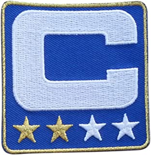 Royal Blue w/ 2 Gold Stars Captain C Patch Iron On for Football Jersey (Buffalo)