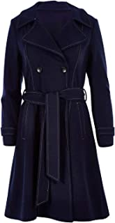 Bird by Design Womens Trench Coats The Divine Wool Blend Coat Navy - Coats