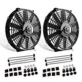 (Pack of 2) 12' High Performance Electric Radiator Cooling Fan Push Pull Slim 12V 80W 1550 CFM with Mounting Kit(Diameter 11.73' Depth 2.56')