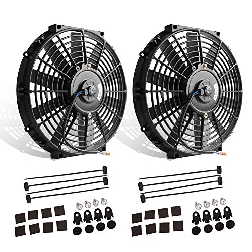 "(Pack of 2) 12"" High Performance Electric Radiator Cooling Fan Push Pull Slim 12V 80W 1550 CFM with Mounting Kit(Diameter 11.73"" Depth 2.56"")"