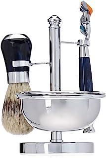 Harry D Koenig Fusion Blade Shave Set with Soap Chrome Handles, Blue, 4 Count