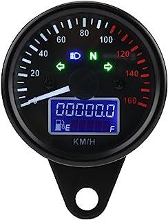 con quadrante Bianco Tachimetro Universale per Moto YSMOTO Display Digitale contachilometri e indicatori di direzione e indicatore LED retroilluminato Argento