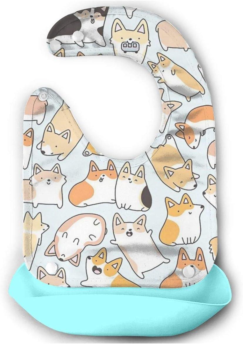 KXT Max 43% OFF Popularity Kawaii Dog Corgis Baby Infan Newborns Silicone Bibs for