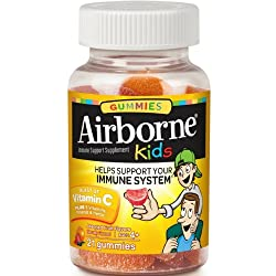 Vitamin C 500mg - Airborne Kids Assorted Fruit Flavored Gummies (21 count in a bottle), Gluten-Free