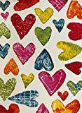 KC CUBS Boy and Girl Bedroom Modern Decor Area Rug and Carpet Collection for Kids and Children Colorful Hearts (3' 11' x 5' 3')