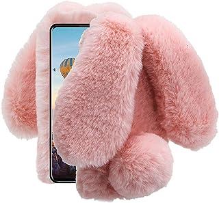 for Samsung Galaxy A51 Case, Aearl Rabbit Fur Ball Case,Luxury Cute 3D Homemade Diamond Winter Warm Soft Furry Fluffy Fuzz...