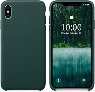 SURPHY Leather Case for iPhone X iPhone Xs Case, Genuine Leather Protective Case Cover (Slim Case with Metallic Buttons & Microfiber Lining) Compatible with iPhone X XS 5.8 (Forest Green)