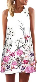 1220ee1f20c2 Ruhiku GW Womens Dress Summer O-Neck Boho Sleeveless Floral Printed Beach  Mini