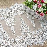 Chantilly ALE11 - Pizzo con motivo floreale, per abito da sposa/matrimonio o per tende e applique, 300 x 41 cm, colore: nero/bianco sporco. Off White