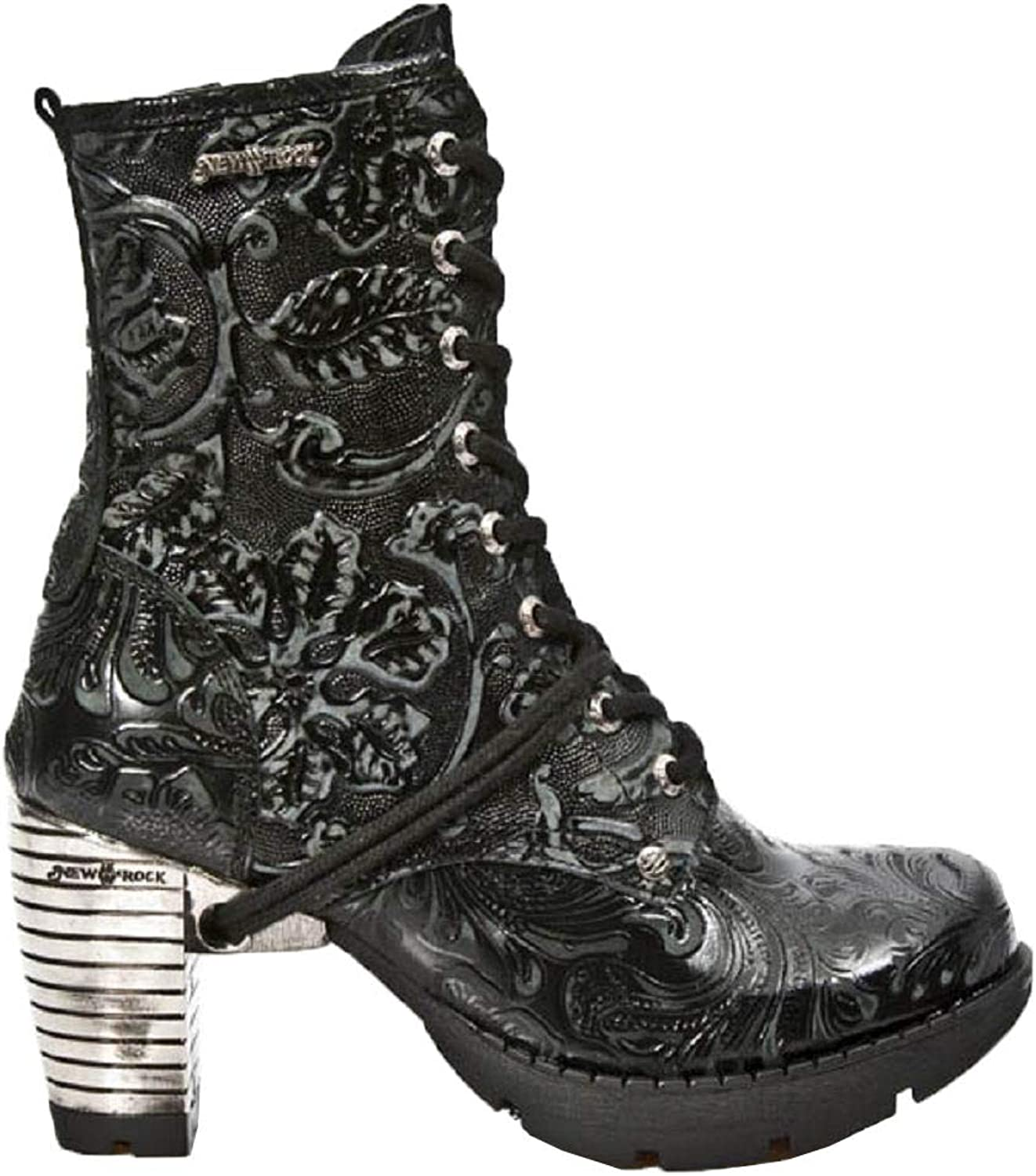 Smart Range Leather Newrock New Rock TR001-S24 Vintage Flower Black Steel Heel Ankle Gothic Boots