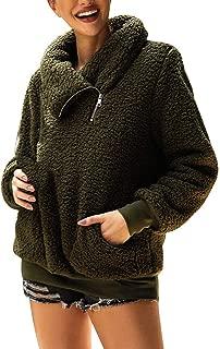 ASHOP Maglia Donna Collo in Pelliccia Sciolto Maglioncino con Maniche A Pipistrello Cardigan con Collo in Pelliccia