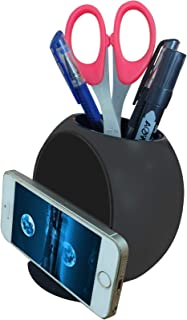 JSXD Pencil Holder,Office Resin  Pen Container with Eye-catching Contractible Cell Phone Stand Easy to Storage Kinds of Pencils,Pens,Scissors(Black)