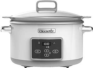 Crock-Pot 5L Duraceramic Csc026X Olla de cocción lenta, 5 L, 5 litros, 0 Decibeles, Acero Inoxidable, Blanco