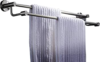 Brushed Finish Towel Bar Towel Holder Stainless Steel Double Bar Wall-Mounted Towel Rack No Drill Bathroom Extendable Towe...