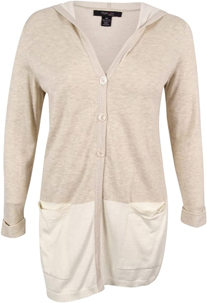 Style & Co. Plus Size Colorblocked Hooded Cardigan 1X Natural Heather Combo