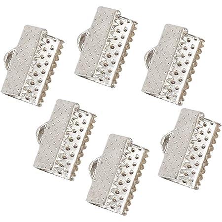 Healifty Attaches Fermoirs Métal Pinces Embouts Griffes Bracelet en Ruban pour DIY Bijoux Fabrication Bracelets Colliers 1cm 100 Pièces (Blanc)