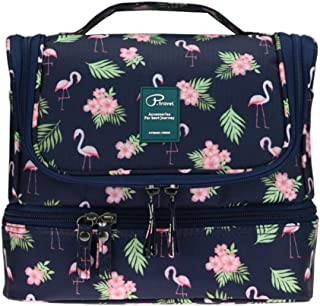 Travel Toiletry Bag with Hanging Hook for Men and Women Cosmetic Bag Oganizer with Handle Make up Bag Shower Bag Cute Design for Travel Accessories (Flamingo-B)