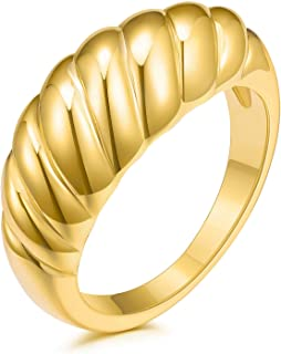 JINEAR 18k Gold Plated Croissant Braided Twisted Signet Chunky Dome Ring Stacking Band for Women Jewelry Minimalist Statem...