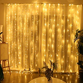 YINUO LIGHT 300 LED Window Curtain String Light Wedding Party Home Garden Bedroom Outdoor Indoor Wall Decorations, Warm White