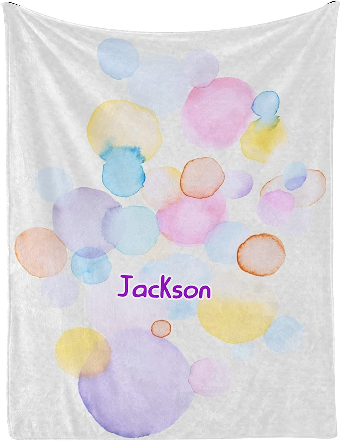 Blobs Colorful Abstract Watercolor wi Personalized Baby OFFer Blankets Over item handling