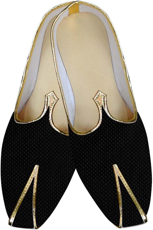 INMONARCH Herren Schwarze Hochzeit Schuhe mit Gewinde MJ015851