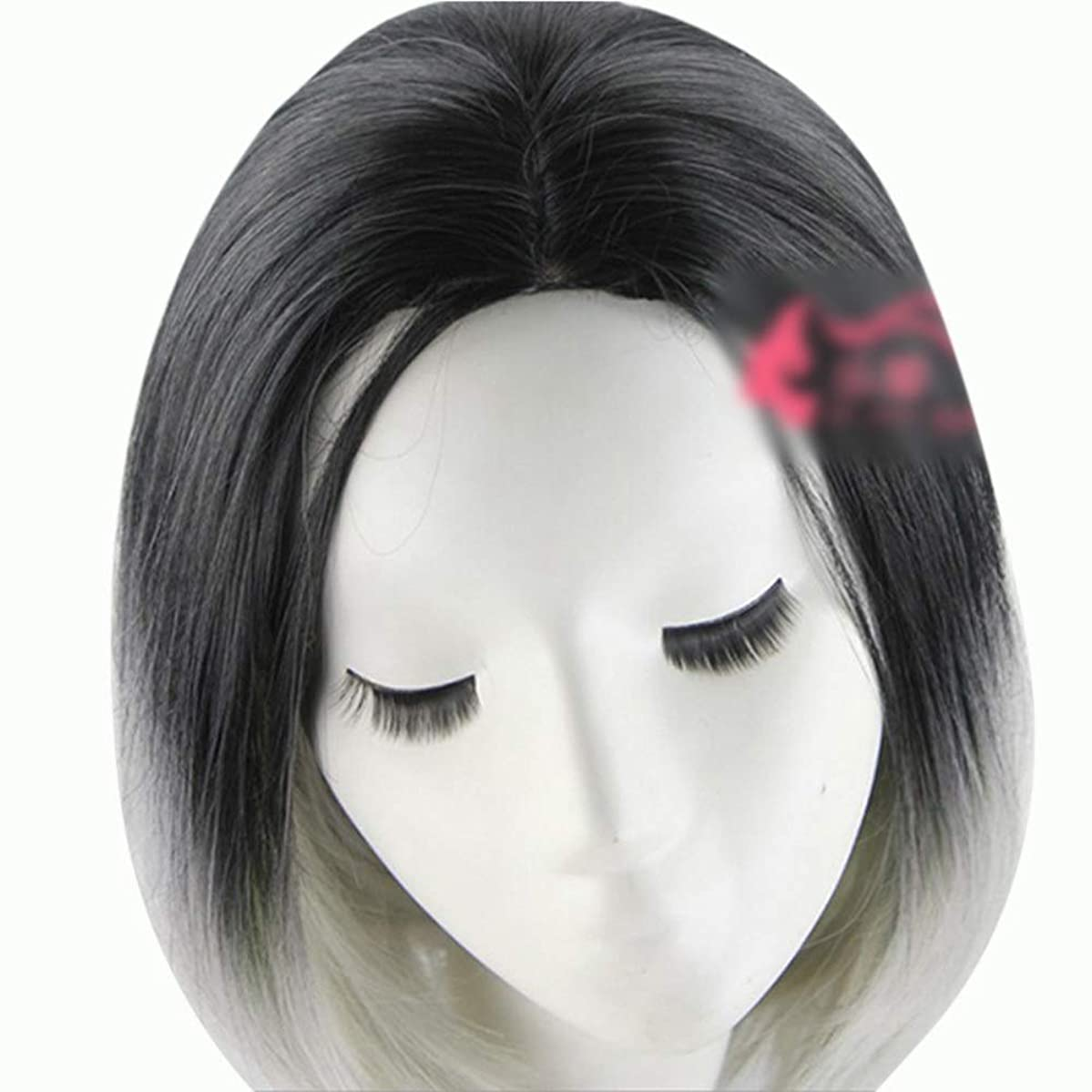 視聴者差別する複合WASAIO 人工毛髪グレーダークショートボブヘアウィッグ36cm (色 : グレー)