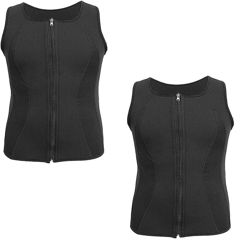 Men Sweat Vest, Neoprene Sweat Vest Men with Zipper Tank Top Shirt for Weight Loss Waist Trainer Vest Slimming Workout Trainer Top