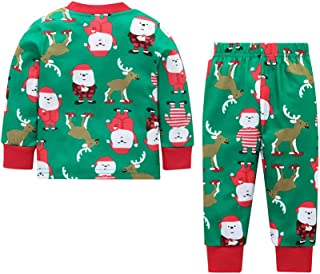 Baby Girls Boys 2Pcs Christmas Clothes Set Infant Santa Claus Shirt Long Pants Outfit Set