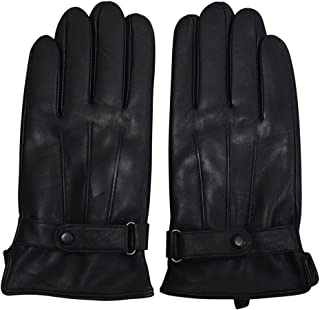 DISHIXIAO Leather Gloves Men,Genuine Sheepskin Winter Touchscreen Texting Warm Leather Driving Motorcycle Gloves