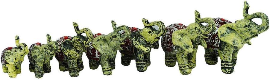 7 tlg Elefanten Set CREME PERLE Deko Glücksbringer Feng Shui Statue