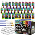 KEFF Creations Acrylic Paint, Acrylic Paint Set, 30 Colors Acrylic Bottles with 3 Paintbrushes and Paint Palette. Acrylic Painting Supplies, Great for Canvas, Rock Paining, Wood, Glass, Crafts