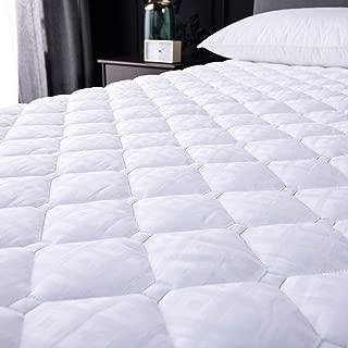 NEKOCAT King Mattress Pad Cover, Overfilled Thick Mattress Topper Soft Cotton Top Pillow Top Down Alternative Fill (Deep Pocket, 70x80 inch, 125 oz)