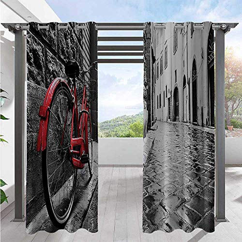 Print Outdoor Curtains Classic Bike on Cobblestone Street in Italian Town Leisure Charm Artistic Photo Outdoor Privacy Porch Curtains for Privacy in Your Porch Red Black White W120 x L108 Inch