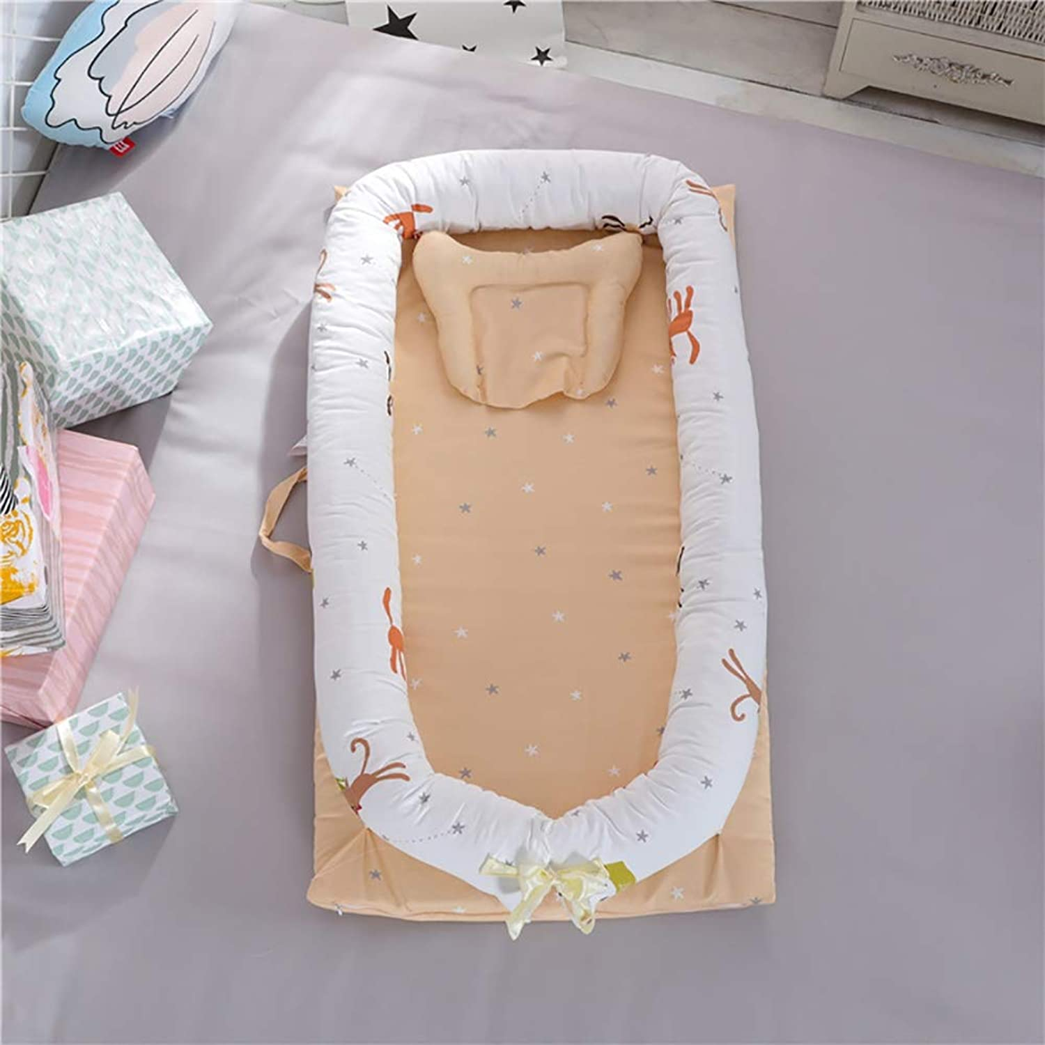 L L Baby Nest Crib Cotton Portable Newborn Isolated Bed Detachable Cover 90  55  15CM 35.4  21.7  5.9 inch, 3