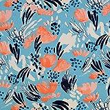 Die Stofftante Viskose Jersey, blau-Koralle 50 x 145 cm