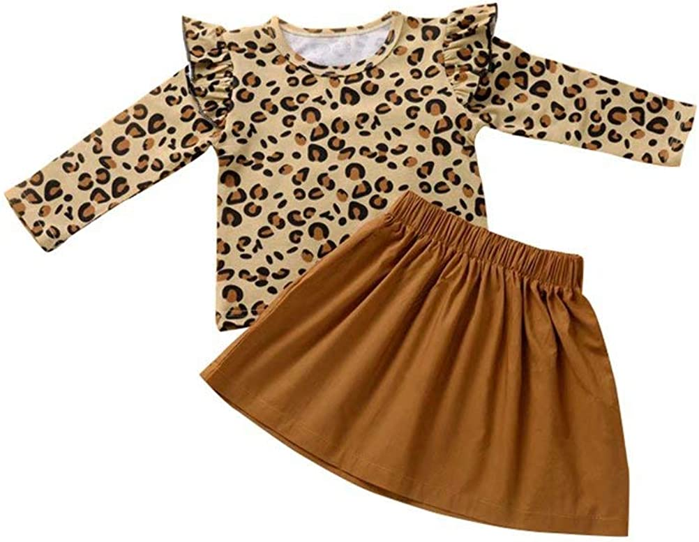 Baby Girl Ruffles Leopard Tops Pleated Skirt Dress Warm Outfits Set