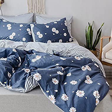 Gray Bedding Set Lovely Floral Printing and Striped Duvet Cover King Hotel Quality Bedding Collection-100% Cotton,Super Soft,Hidden Zipper,4 Corners Ties