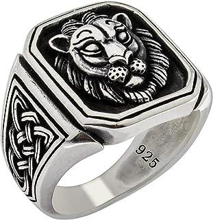 خاتم رجالي كلاسيكي مصنوع يدويًا من الفضة الإسترلينية 925 بنمط أسد قوطي راكب دراجة صلبة من الفضة التركية