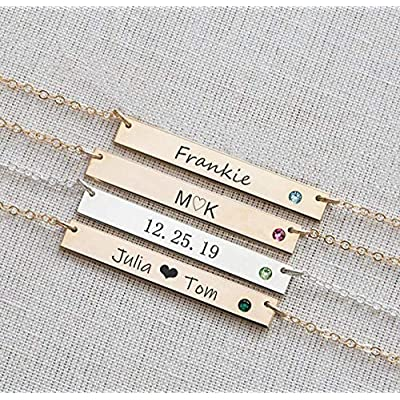 Custom Bar Name Necklace,Personalized Double Na...