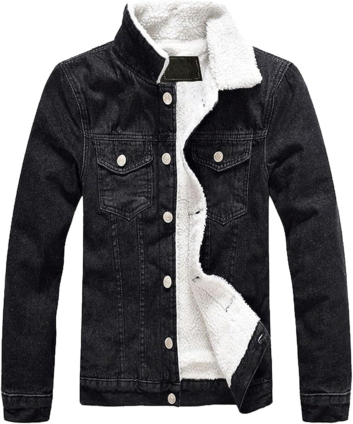 Xishiloft Men's Fleece Jean Jacket Winter Cotton Sherpa Lined Denim Trucker Jacket with Pockets
