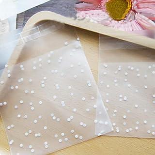 100 unids bolsas galletas caramelo resellable autoadhesiva bolsa regalo bolsas galletas bolso del favor fiesta blanco