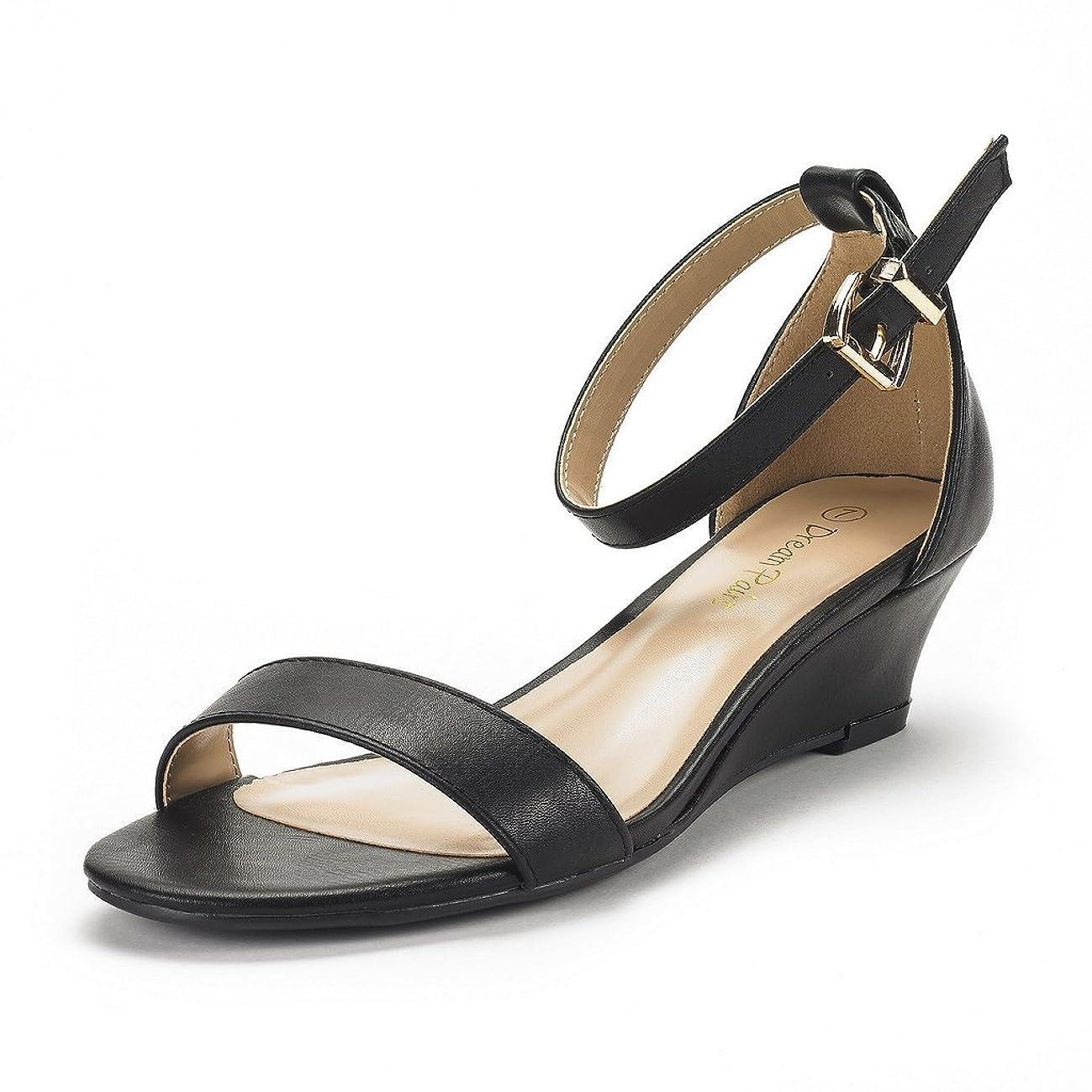 DREAM PAIRS Women's Ingrid Ankle Strap Low Wedge Sandal