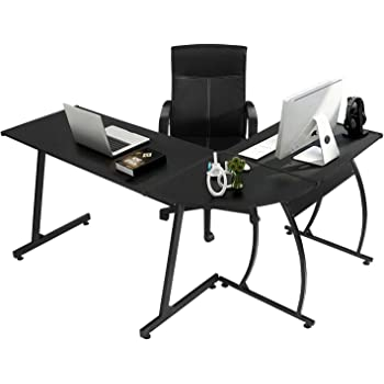 GreenForest L-Shaped Corner Desk Computer Gaming Desk PC Table,Home Office Writing Workstation 3-Piece,Black