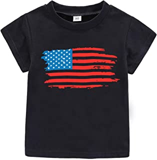 AMMENGBEI 4th of July Toddler/Infant Kids T-Shirt USA Flag Heart Stars Strips Patriotic USA Baby Outfits